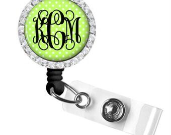 Lime Monogram Badge Holder, Monogram ID Badge Reel, Monogram Retractable Badge Reel, Personalized Badge Reel (370)