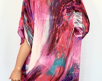 SHEER KIMONO, Colorful Kimono, BEACH Kimono, Summer Kimono, Sheer Chiffon Kimono, Sheer Summer Kimono, Sheer Cardigan, Sheer Short Kimono
