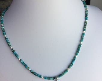 Necklace — Filagree Sterling Silver Pendant, Heishi Turquoise, Silver Nuggets