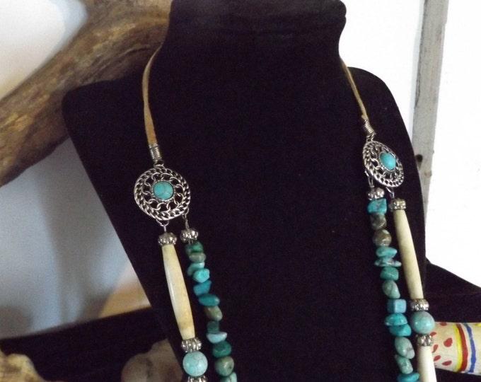 Multistrand Turquoise Healing Necklace, Healing Jewelry, Healing Crystal Jewelry Spiritual Healing Jewelry, Viking Warrior Princess Necklace