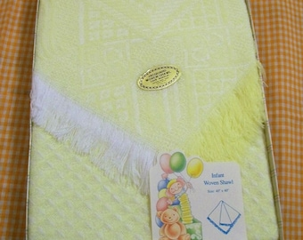 Vintage Receiving Blanket, Yellow and White Baby Blanket, Jacquard Woven Shawl, Infant Woven Shawl, NOS
