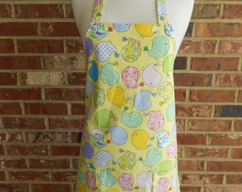 Womens' Full Apron, Easter Chicks, Easter Apron, Kitchen Apron, Bib Apron, Hostess Apron, Pocket Apron, Yellow Apron