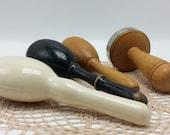 Vintage Sock Darner Collection Black Egg Shaped Wood Darner Celluloid Darner Mushroom Sock Darner Darning Collection