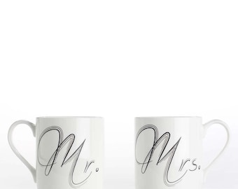 "Coffee mug, coffee cup Set of 2 ""Mr."" and ""Mrs."" bone china mugs"