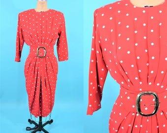 "1980s pinup dress | 50s style red white polka dot wiggle dress | vintage 80s dress | W 27"""