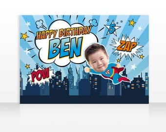 Superhero Birthday, Superhero Theme, Superhero Backdrop, Large Scale Backdrop, 60x40 Inches, HIGH RESOLUTION FILE
