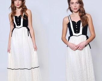 Vintage 70s LACE & VELVET Prairie Dress Candi Jones Maxi Dress Boho Dress Hippie Wedding Dress
