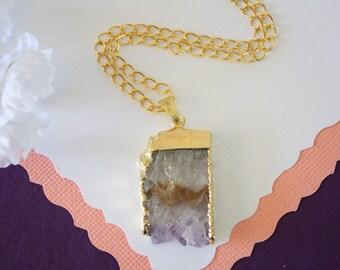 Amethyst Slice Crystal Pendant, Amethyst Necklace, Amethyst Slice, Gold Amethyst Slice, Gold Plated Purple Rock,AMS19
