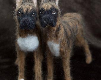 Needle Felted Boxer Dog, Wool Pet Portrait