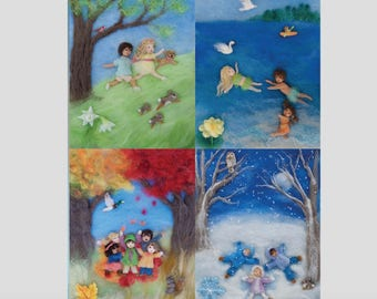 Seasons of Joy, Wool Painting Photo Print of Picture Book Illustrations, Set of 4, 5 by 7