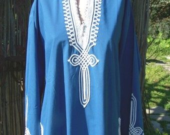 Moroccan tunic, Embroidered blouse, Long sleeve Blouse, Blue blouse, Morrocan blouse, Long sleeve Blouse, size XL