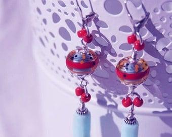 Handmade LAMPWORK & PERUVIAN OPAL Dangle Earrings, OoAK, Sterling Silver, Leaver-backs, Wearable Art, Semi-precious gems Boho