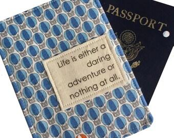 Passport Holder, Passport Case, luggage tag set with inspirational quote, passport wallet Hot Air Balloon Pattern