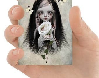 Gothic Fairytale Art - Gothic Portrait - ACEO Art Card - ATC - Artist Trading Card - Rose Red