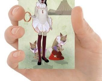 ACEO Card - Circus Clown - Piglet Artwork - Miniature Art - Piglet Parade