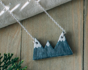Mountains necklace, ceramic necklace, rustic nature accessories. Handmade clay necklace. Ceramic jewelry. Inspirational mountains pendant.
