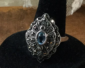 Regal Genuine Marcasite and Blue Topaz Sterling Silver Ring Size 10 Signed 925 November Birthstone