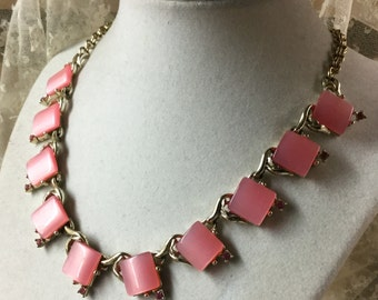 So Sweet Pink Thermoset and Rhinestone Choker Necklace Goldtone Setting Unsigned Coro