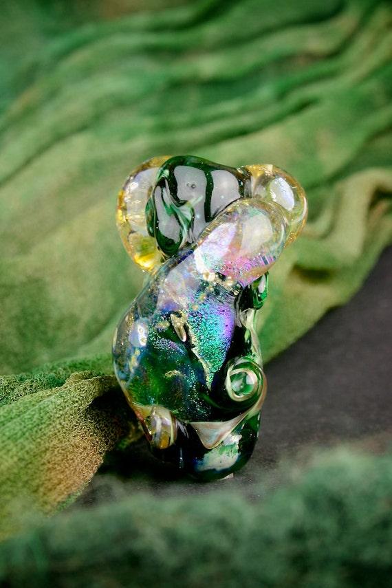 "SRA Lampwork Beads ""Primordial"" Handmade Dichroic Glass Focal Bead Textural Freeform Fine Silver Lustre"