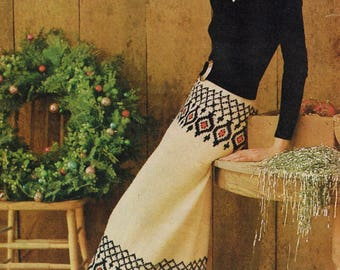 Downloadable Vintage Knitting Pattern - 60s Maxi Skirt - PDF Pattern - retro 1960s banded skirt