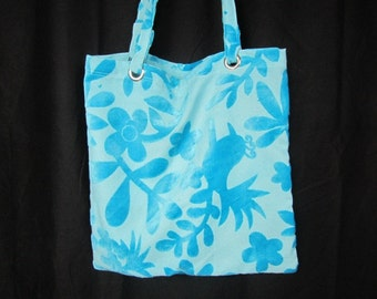 OOAK Quail blue Tote Bag - Upholstery Fabric Tote Bag - Blue on Blue Bag - Birds and Leaves Shoulder Bag or Carryall Tote -Stylized Quail