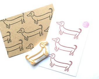 dachshund rubber stamp. puppy dog stamp. animal hand carved stamp. pet stamp. gift for dog lovers. diy birthday holiday scrapbooking