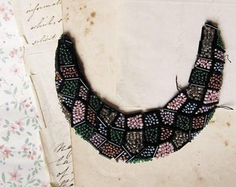 1920s beaded patch in crescent moon shape encrusted with with glass beads