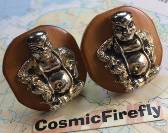 Big Chunky Vintage Cufflinks Gold Buddha Cufflinks Men's Cufflinks Antique Cufflinks Vintage SWANK Cufflinks