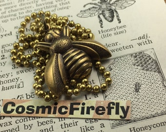 Small Bee Necklace Antiqued Brass Bee Pendant Vintage Style Brass Metal Steampunk Necklace Includes Brass Chain Girl's Choker