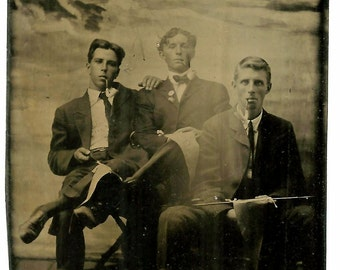 Young Men w/ Smoking Pipes & Pennants - Ship/Lighthouse/ Seascape Backdrop - Antique Tintype