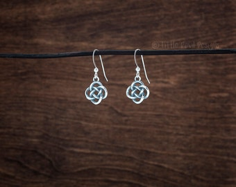 Celtic Love Knot Earrings - 3D Double Sided - STERLING SILVER