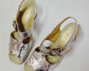 1960's Easystreet Vintage Dress Shoes- Size 6 or 6 1/2-Silver Lamé-Ready to Ship