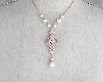 Rose Gold Bridal necklace, Crystal wedding necklace, Bridal jewelry, Pearl necklace, Swarovski crystal, Rose Gold, Art Deco necklace, EMMA