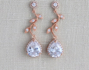 Rose Gold Bridal earrings, Wedding earrings, Bridal jewelry, Dangle earrings, Crystal earrings, Bridal earrings, Bridesmaid earrings, Leaf