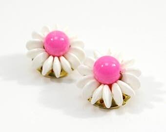 Vintage Clip Earrings, Neon Pink Summer Earrings, Mimi di N Cluster Bead Clip On Earrings, Designer Signed Bead Jewelry