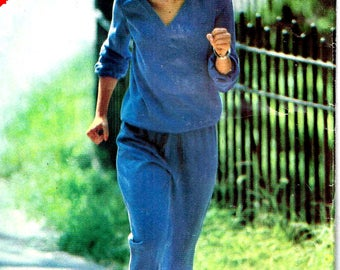 Jogging Suit Sewing Pattern Vintage 1980s Butterick 3018 Workout Exercise Misses Size 12, 14, 16 Bust 34 36 38 Cut Pieces