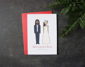 Personalized Christmas Cards | Flat Cards | Our First Christmas Cards | Married Christmas Cards | Customizable Bride and Groom | Recycled