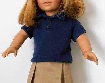 Khaki school uniform skirt with navy blue polo shirt fits American Girl