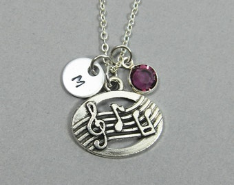 Music Note Necklace - music lover, Personalized Initial Name, Customized birthstone