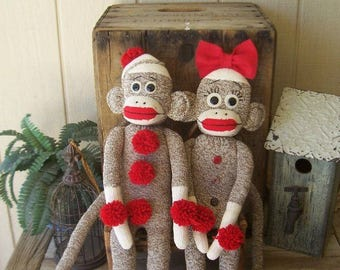 "PriMiTiVe Folk Art Sock Monkey Set Male & Female ""Me and My Monkey"" Collectible Duo  Ofg Hafair Faap Team"