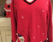 Vintage Ugly Christmas Sweater - Dogs Wearing Christmas Sweaters - Sz 1 Woman - Same Day Ship - Ugly Sweater Christmas Party - Red V Neck