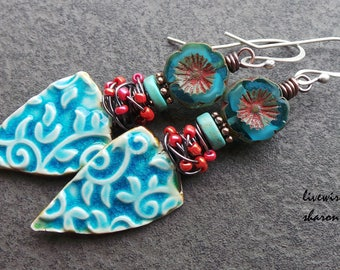 Boho Chic Blue Flowered Ceramic Charms and Czech Glass Earrings, Blue Flowers, Blue Ceramic Patterned Charms, Pink Beads, Sterling Silver