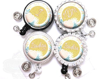 Flower Badge Reel - Personalized Gold Glitter and Chevron Retractable Nurse Lanyard ID Holder with Name, Monogram, Occupation Title (A410)