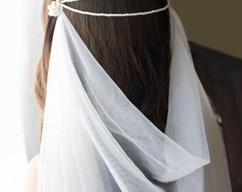 Wedding veil, draped veil, blusher veil, fingertip veil, pearl veil, wedding pearl headpiece, pearl headpiece, wedding headpiece, veil,