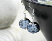 Sapphire Blue Glass Drop Earrings, Silver, Handmade Lampwork, Hollow Glass Bead