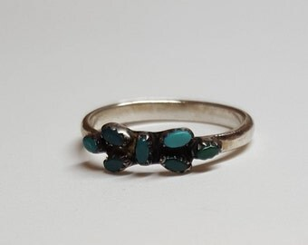 Natural Turquoise Ring  Band sterling silver  Size 5 1/2   Vintage High collectible SouthWest Navajo Jewelry Petite Point Butterfly