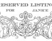 RESERVED Listing for Janice