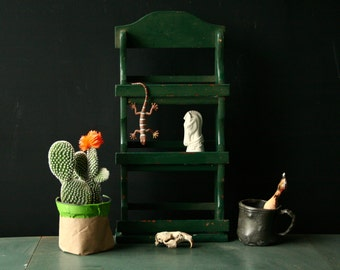 Spice Shelf Small Curio Shelf Green Rustic Bohemian Decor Vintage From Nowvintage on Etsy