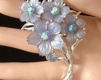 Vintage signed SELRO Blue jelly Flower petals w/ blue AB rhinestones