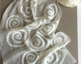 White Felted Silk Chiffon Scarf- Wind of Silence/ Spirals scarf felted/ Wedding Shawl Wrap/ Bridal Felted Shawl Geometric Scarf Gift for her
